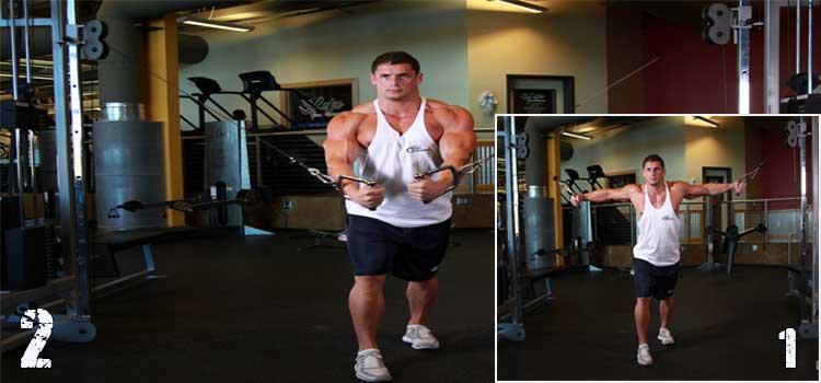 Упражнение кроссовер для грудных мышц.