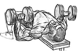 Упражнения с гантелями для грудных мышц рисунок