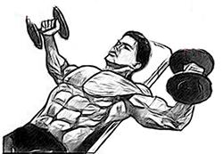 Разведение гантелей лежа на наклонной скамье рисунок